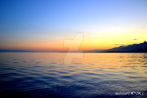 water, sunset by aselmar