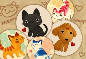 cats and dog badges by sandara