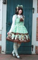 Mint/Brown Chess Chocolate Lolita by Zhenya-Chan