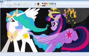Princess Celestia and Twilight Sparkle in Paint by sallycars