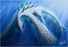 Lugia - the Monster of the Ocean by frostfoxie