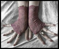 Elise Lace Fingerless Gloves by ZenAndCoffee