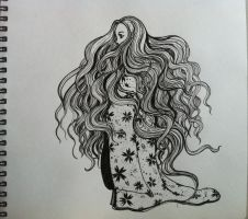 Lonely girl (Ink drawing)... by Nichapon