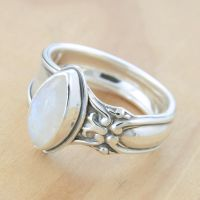 Spoon Ring w Marquis Moonstone by metalsmitten