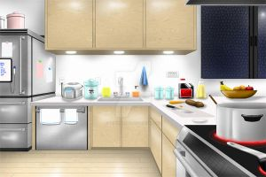 Visual Novel BG - Kitchen by GrimbySlayer