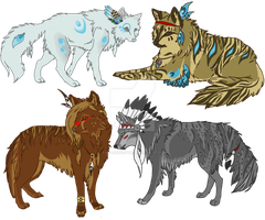 Native American Indian Wolf adoptables (CLOSED) by TaraviAdopts