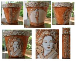 A Geisha Flowerpot by khallion