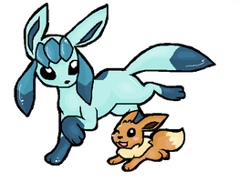 Art-Trade  - Glaceon by Phewmonster
