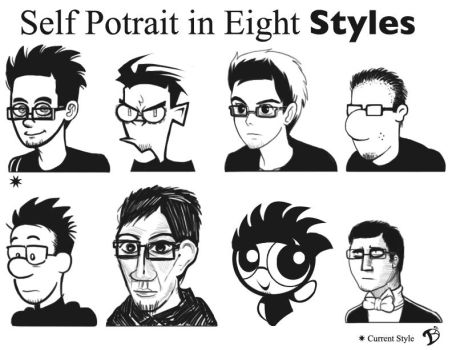 Self Potrait In Eight Styles by dpsillustration