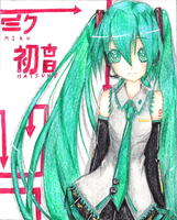color pencil: miku hatsune by hikarisoul