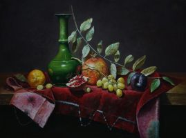 Green vase and fruits by marcheba