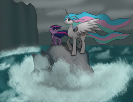 Twilight and Celestia at sea by the cave by sugnamustart