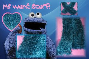 Cookie Monster Scarf by DragonKissses
