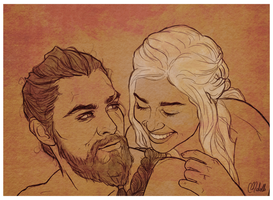 Khaleesi and her Khal by chaffyy