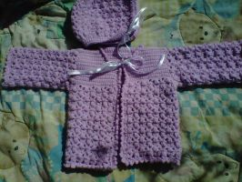 lavender bonnet and sweater set by crochetamommy