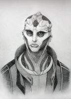 Thane Krios (pencil portrait) by aka-Selva