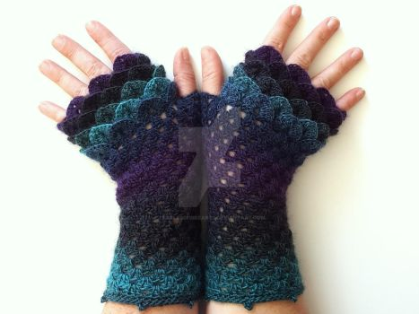 Galaxy Dragon Gloves II by FearlessFibreArts