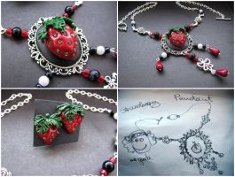Sweet Strawberry set necklace and earrings by CountessAudronasha
