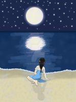 by the ocean in moon light by M-Iris
