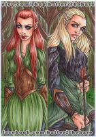 LotR Tauriel and Legolas Bookmarks by Hatter2theHare