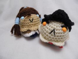 Korra and Mako Amigurumi Cupcakes by love-your-spleen