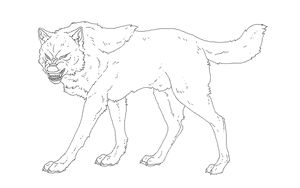 Agressive Wolf Lineart by TheSodaSmuggler