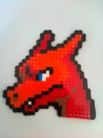 Charizard perler head by Closetcreep