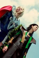 Thor and Loki Cosplay by RhymeLawliet