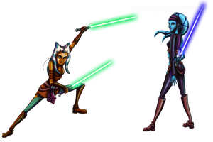 Ahsoka and Aayla by KaeMcSpadden