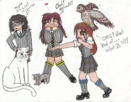 Hogwarts friends and our pets by angelcollina