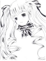 Shinku Black-and-White Drawing by BlackMailer