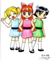 PowerPuff Girls: Anime style by KamiKaze-no-Ryuu