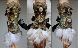 Feather Cuff With Cat Cameo by Pinkabsinthe