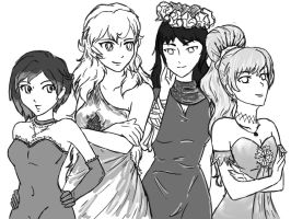 RWBY group photo - Beacon Ball WIP by MercyAntebellum