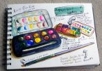 Watercolor Travel and Field Kit Palette by jenthestrawberry