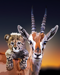 Gazelle and baby cheetah by elviraNL