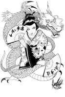 Geisha and Dragon by caiojhonson