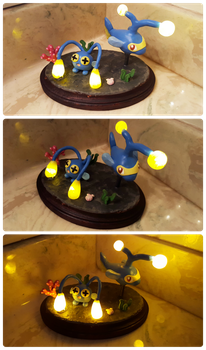 Chinchou and Lanturn Light-Up Sculpture by Kyreon