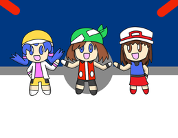 Chibi Trainer Girls by TheLimeTangerine