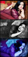 Theadina in red lace triptych by DR0ck