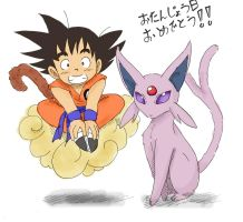 Goku and Espeon by Gkenzo