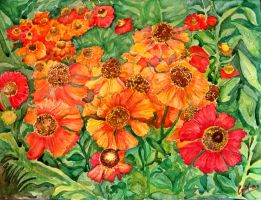 Flowers in watercolor by cristineny
