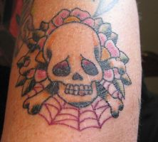 Old school skull with flowers by IAteAllMyPaste