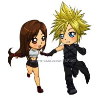Commission - CloudxTifa Chibi by Pia-sama
