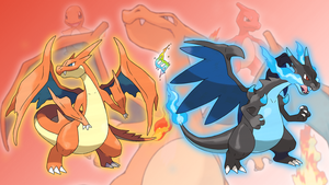 Charmander, Charmeleon, Charizard, and Mega's X/Y by Glench