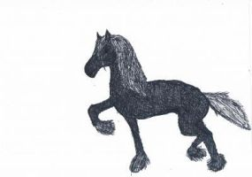 friesian horse by whenwolveshowl