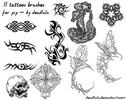 11 Tattoos Brushes - for psp by DeadLulu