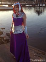 Starfire Formal Gown Cosplay by the Water by mangoloo