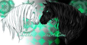 andalusian and fresian by Chyana