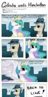 Celestia visits Manehattan by Drawing-Heart